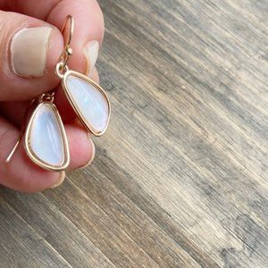 GOLD WHITE OPAL STONES DROP EARRINGS